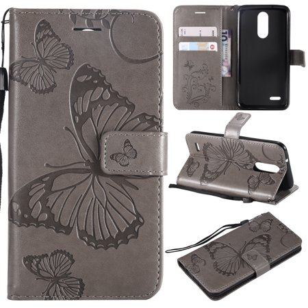 - LG Aristo 2 Plus Case LG Aristo 2/LG Zone 4/LG Tribute Dynasty/LG K8 2018 Case, Allytech Wrist Strap Flip Kickstand PU Leather Wallet Cover Embossed Butterfly with ID & Credit Card Holder, Gray