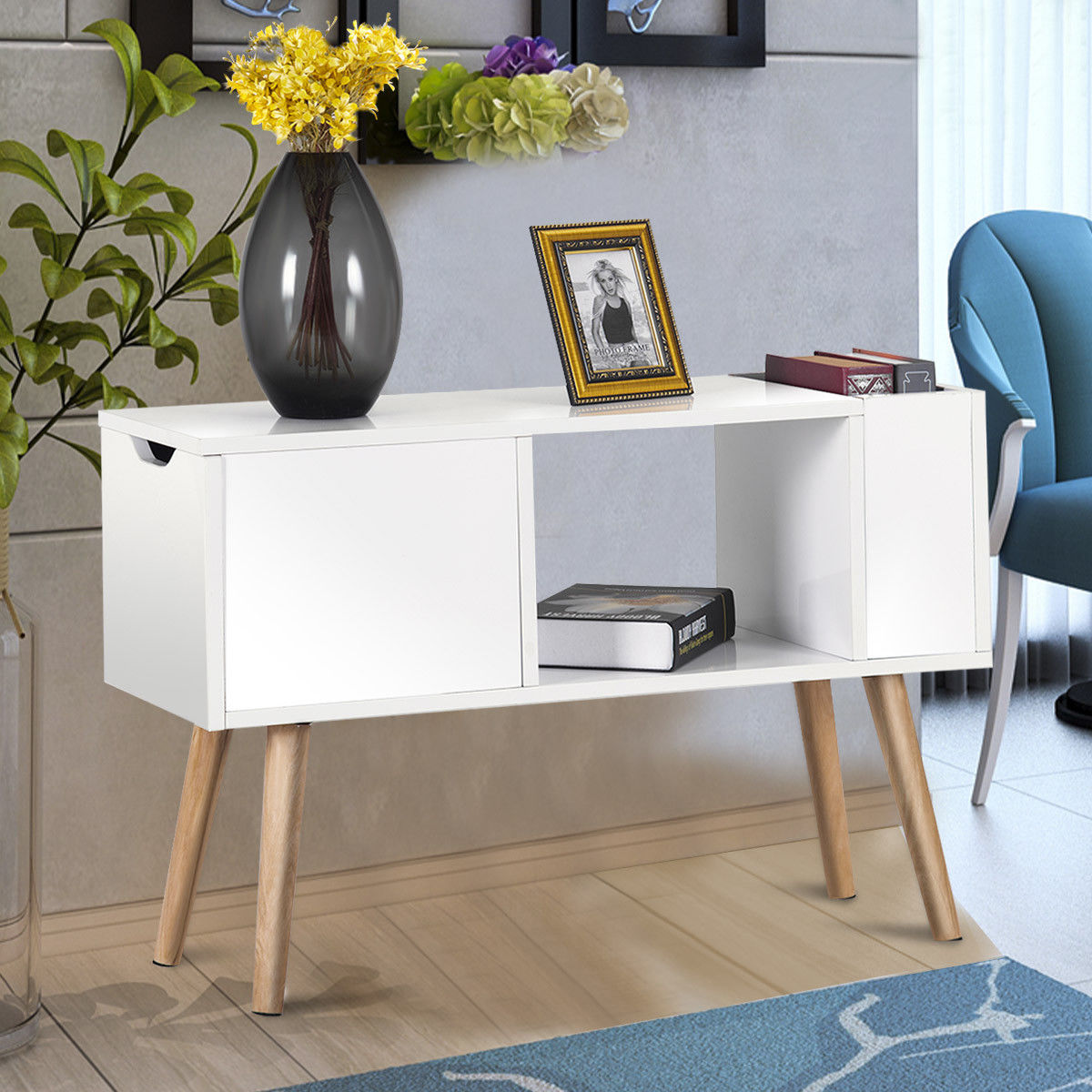Costway Modern Side Table End Table for Bedroom Living Room Sitting Room Drawer White