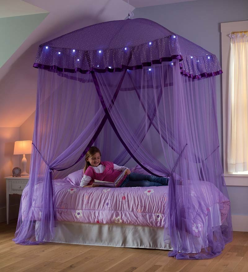 Sparkling Lights Canopy Bower For Kids Beds, Size Twin To