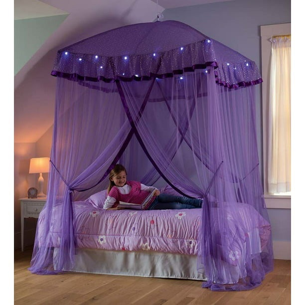 Sparkling Lights Canopy Bower For Kids, Queen Size Bed Hanging Canopy