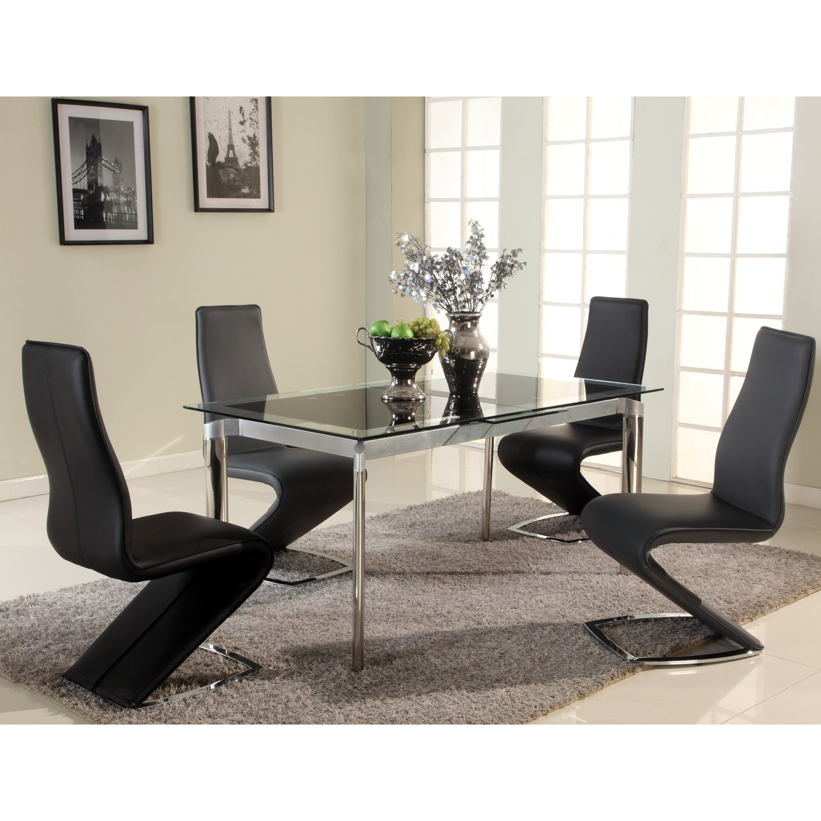 Chintaly Tara Extendable Glass Dining Table