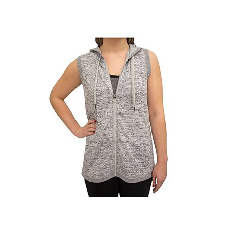 Active Life Womens Size X-Large Hooded w/Petal Back Athleisure Vest, Grey Heather Cutter & Buck Microfiber Vest