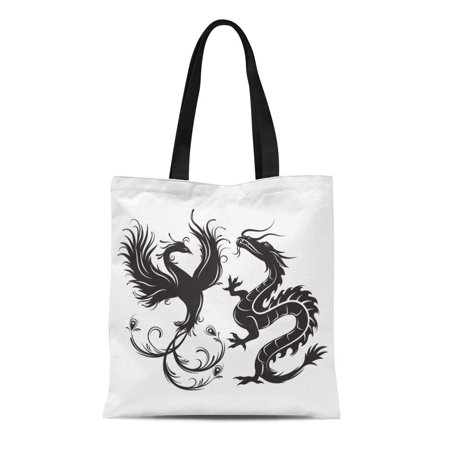 ASHLEIGH Canvas Bag Resuable Tote Grocery Shopping Bags Silhouette of Phoenix Bird and Dragon Symbol Balance That in Such Combination Tote (Dragon Phoenix Dish)