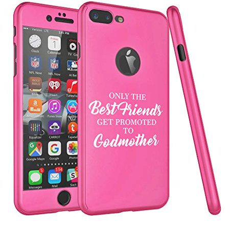 360° Full Body Thin Slim Hard Case Cover + Tempered Glass Screen Protector F0R Apple iPhone The Best Friends Get Promoted to Godmother (Hot-Pink, F0R Apple iPhone 6 Plus / 6s