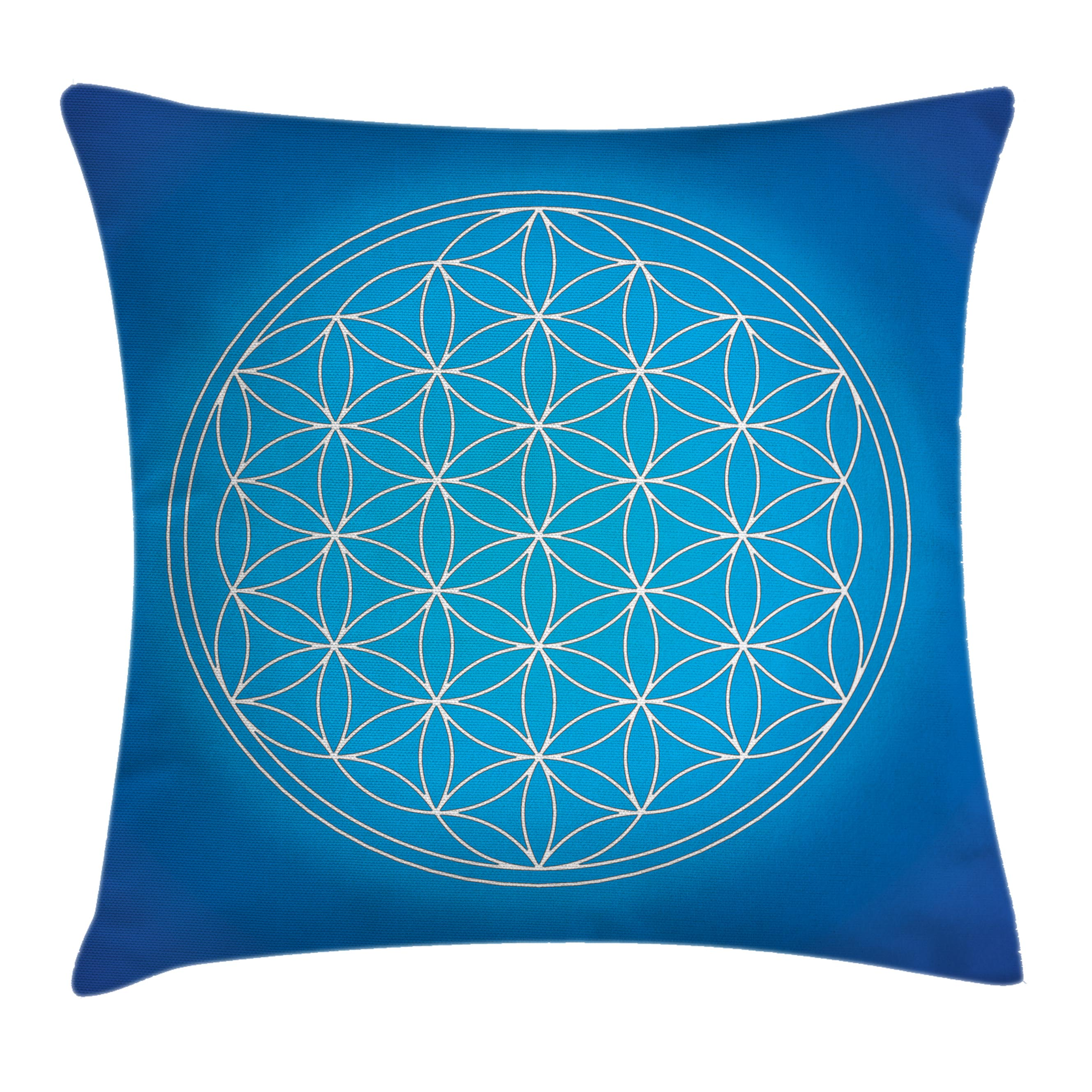 Sacred Geometrty Decor Throw Pillow Cushion Cover, Flower of Life Grid Pattern Consisting of Types Overlapping Circles Theme, Decorative Square Accent Pillow Case, 18 X 18 Inches, Blue, by Ambesonne