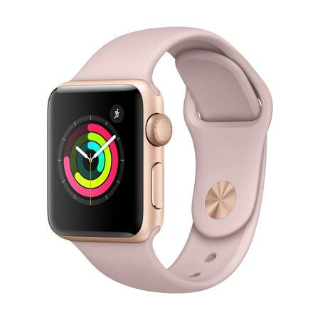 Refurbished Apple Watch - Series 3 - 38mm - Gold Aluminum Case - Pink Sand Sport (Best Smartwatch For Apple)