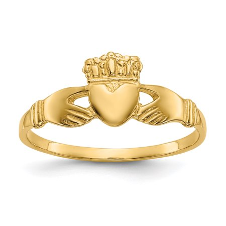 14k Yellow Gold Ladies Irish Claddagh Celtic Knot Band Ring Size 6.00 Fine Jewelry Gifts For Women For Her - image 8 de 8