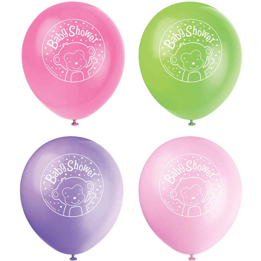 """12"""" Latex Pink Monkey Baby Shower Balloons, 8ct"""