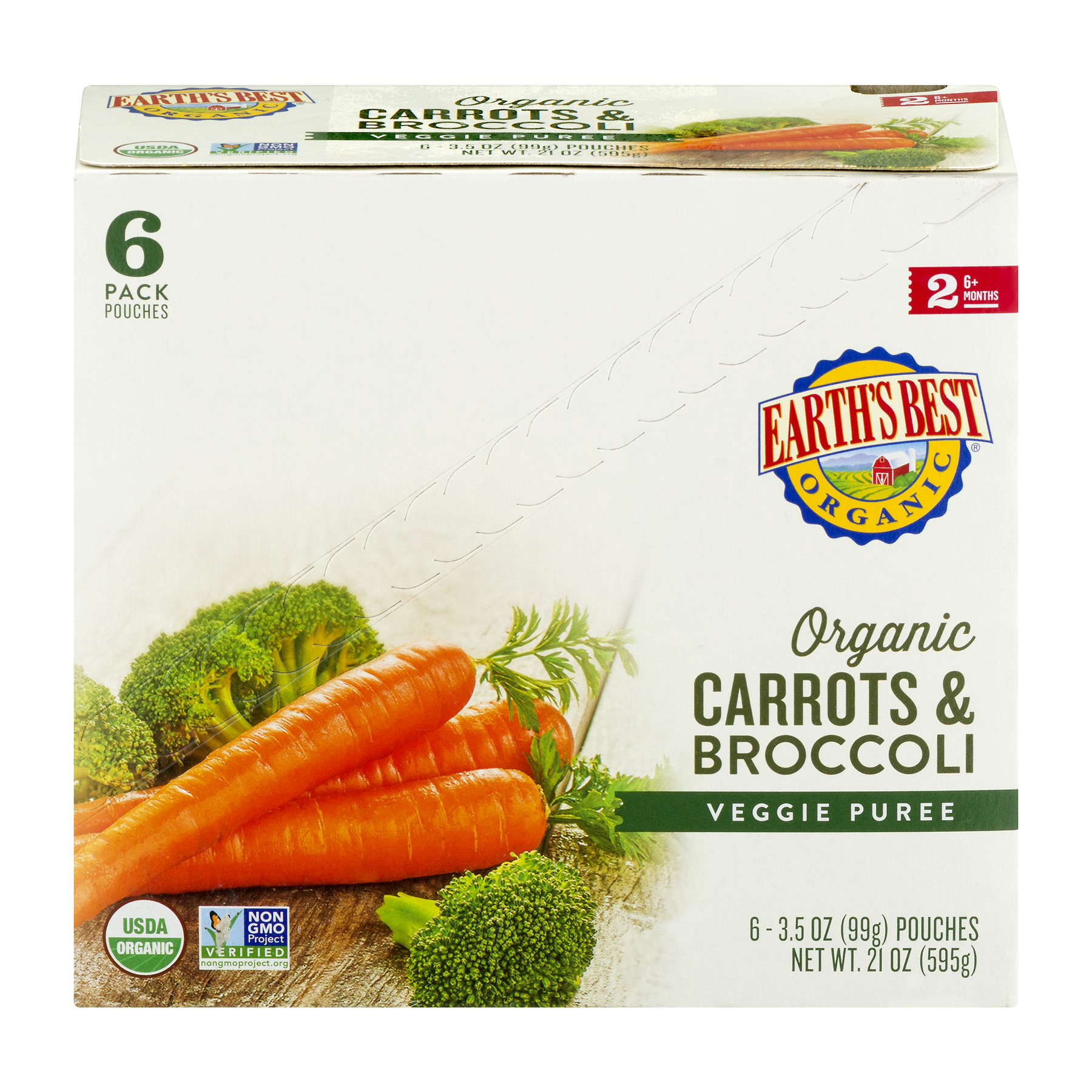 Earth's Best Organic Carrots & Broccoli Veggie Puree 6m+ 6 PK, 6.0 PACK