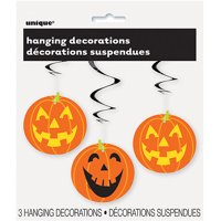Pumpkin Halloween Hanging Decorations, Orange, 26in, 3ct