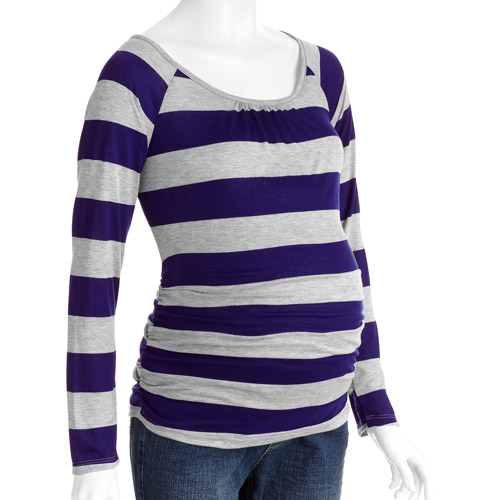 Planet Motherhood Maternity Striped Long Sleeve Tee with Side Ruching