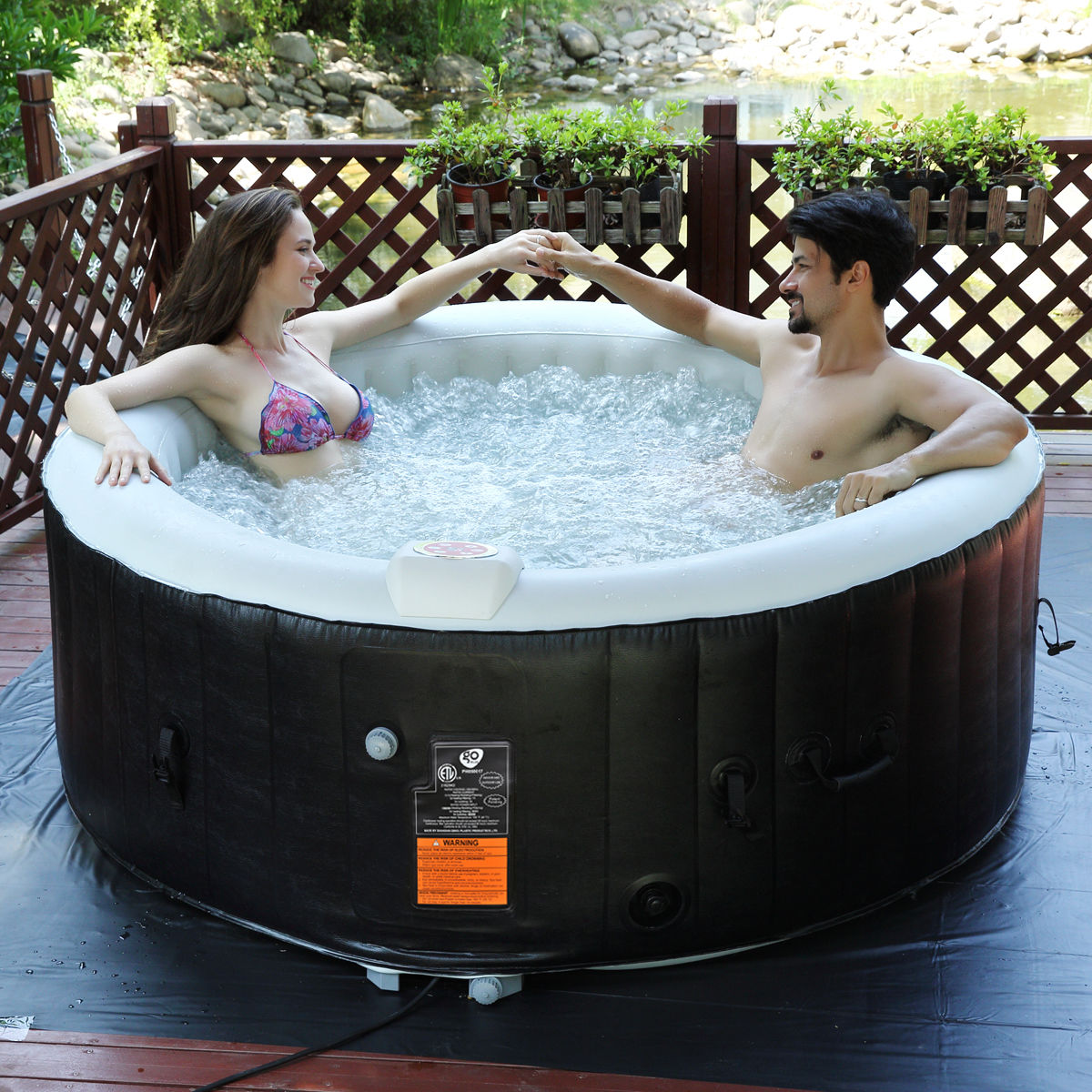 Goplus Portable Inflatable Bubble Massage Spa Hot Tub 4 Person Relaxing Outdoor by Costway