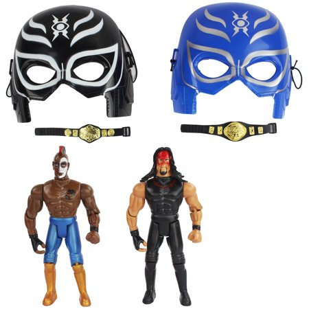 Super Toy Wrestling Duo Action Figure Playset with Two Wrestlers, Two Masks and Two Champion