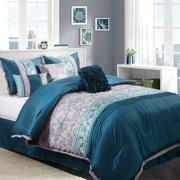 Nanshing Juliana 7-piece Comforter Set, Teal, Queen