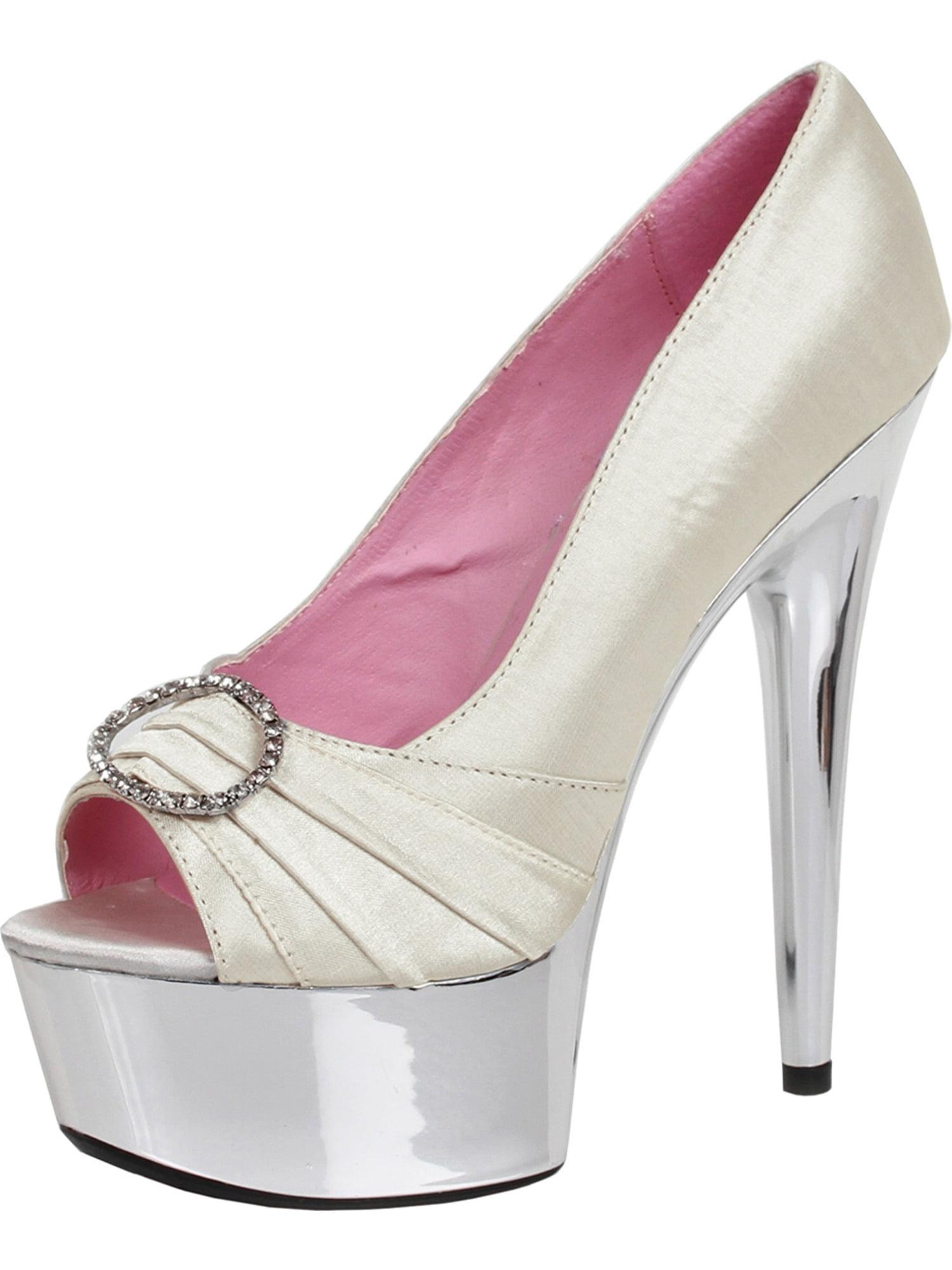Women's Satin Open 6 Inch Stiletto Heel Open Satin Toe Pump Shoes Rhinestone Buckle Nude 252be7