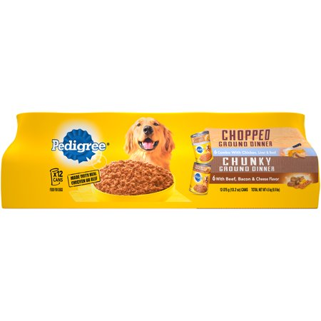 PEDIGREE Ground Dinner Combo with Chicken, Liver & Beef and Beef, Bacon & Cheese Flavors Adult Canned Wet Dog Food Variety Pack, (12) 13.2 oz. Cans (Halloween Dinner Ideas Chicken)