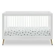 Delta Children Sloane 4-in-1 Acrylic Convertible Crib - Includes Conversion Rails, Bianca White w/Melted Bronze