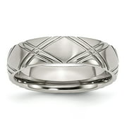 Mia Diamonds Stainless Steel Criss-cross Design 6mm Brushed and Polished Wedding Engagement Band Ring Size - 10.5