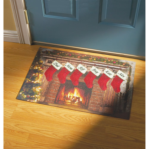 Personalized Fireplace with Christmas Stockings Doormat