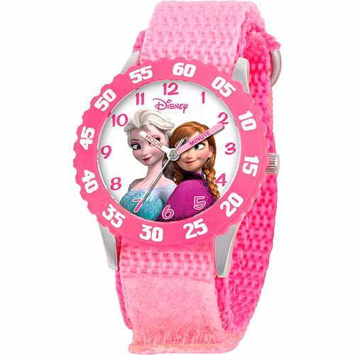 Disney Frozen Anna, Snow Queen Elsa Girls' Stainless Steel Watch, Pink Strap