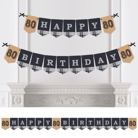 80th Milestone Birthday - Birthday Party Bunting Banner - Vintage Party Decorations - Happy Birthday (80th Birthday Banners)