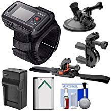 (Sony RM-LVR2 Live View Wireless Wristband Remote + Handlebar, Vented Helmet & Car Suction Cup Mounts + Battery)