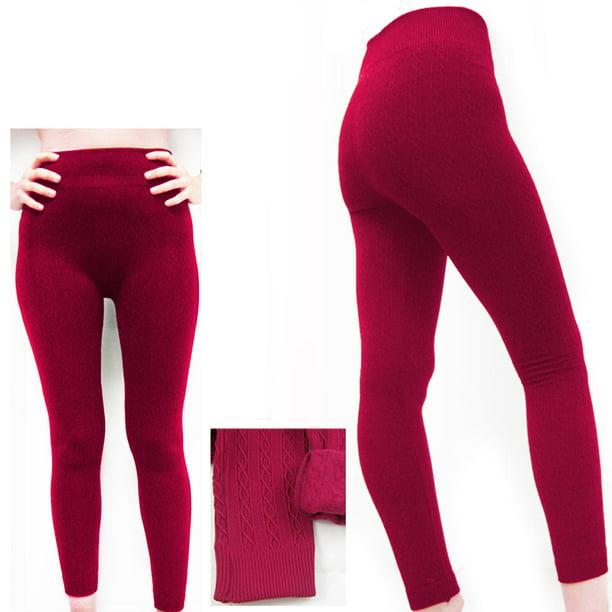 Women Winter Knitted Woolen Full Length Skinny Stretch Full Foot Leggings Pants