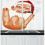 Christmas Curtains 2 Panels Set, Santa Claus Making Mouse Rocker Gesture Smoking A Cigar Noel Humor Celebration, Window Drapes for Living Room Bedroom, 55W X 39L Inches, Multicolor, by Ambesonne