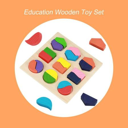 Rdeghly Enfants jouet éducatif en bois ensemble géométrique de blocs de construction puzzle bébé outil d'apprentissage précoce, jouet géométrique, blocs de construction en bois - image 7 de 8