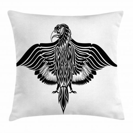 Eagle Throw Pillow Cushion Cover, Traditional Motif Heraldic Design Inspirations Monotone Medieval Crest Bird, Decorative Square Accent Pillow Case, 16 X 16 Inches, Black and White, by Ambesonne (Medieval Crest)
