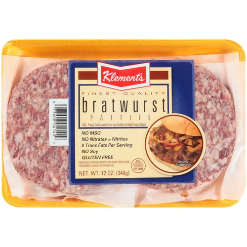 Klement's Bratwurst Sausage Patties, 12 oz