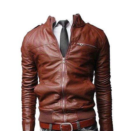 Men Motorcycle Jackets Stand Collar Slim Fit Faux Leather Outwear Jacket Fashion Brown 3XL