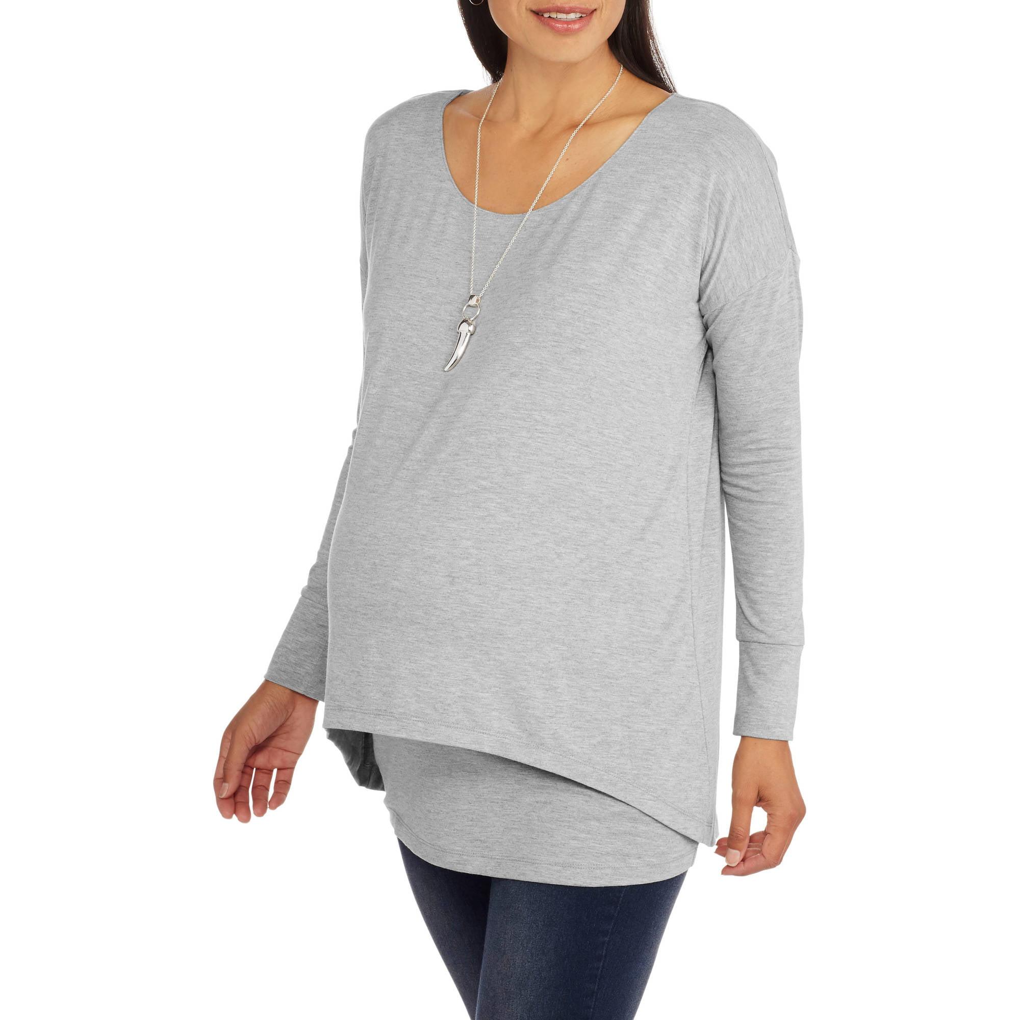 Faded Glory Maternity Long Sleeve Knit Faux 2fer