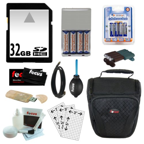Essential Fujifilm Accessory Kit w/ 32GB SD, AA Batteries, Charger, Cable & Case