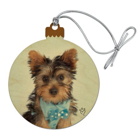 Yorkie Yorkshire Terrier Puppy Dog Blue Bow Tie Wood Christmas Tree Holiday Ornament