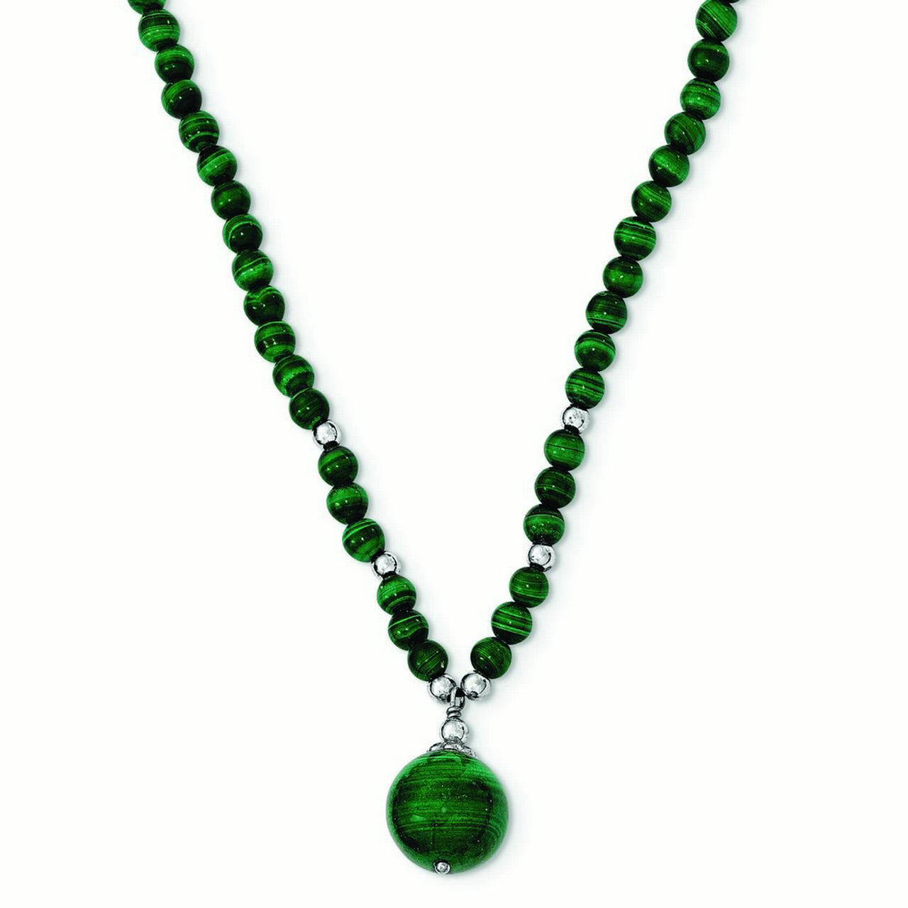JewelryWeb Sterling Silver Malachite Beaded Necklace - 17...
