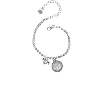 Silvertone Mini Running Horse You Are More Loved Than You Will Ever Know Engraved Bracelet