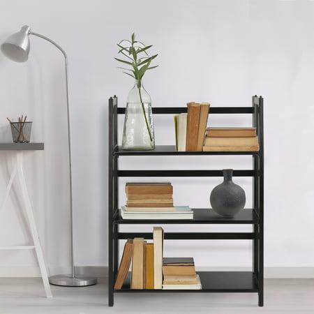 3 Shelf Folding Stackable Bookcase 275 Wide Black
