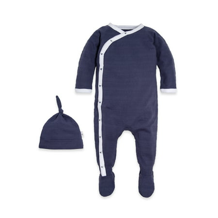 Burt's Bees Baby Jaquard Stripe Kimono Footed Coverall & Knot Top Hat, 2pc Outfit Set (Baby Boys or Baby Girls, Unisex)