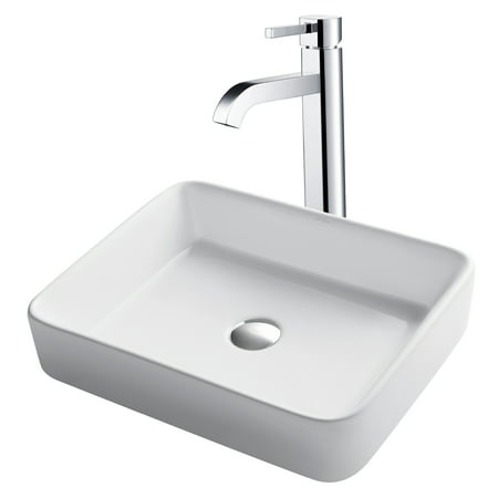 12 Inch Vessel Sink - KRAUS 19-inch Modern Rectangular White Porcelain Ceramic Bathroom Vessel Sink and Ramus™ Faucet Combo Set with Pop-Up Drain, Chrome Finish