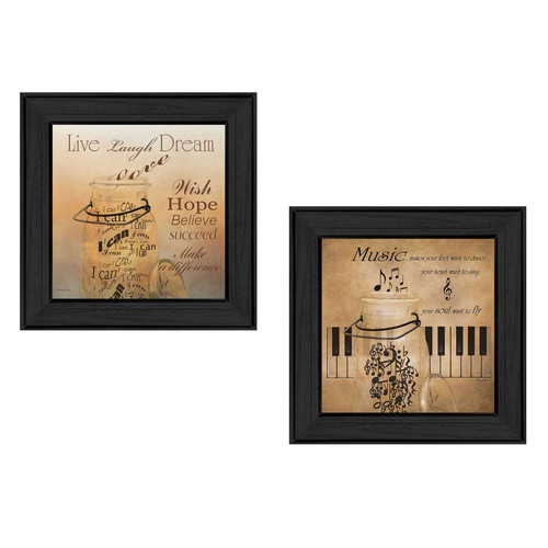 Trendy Decor 4U 'Music' 2 Piece Framed Graphic Art Print Set