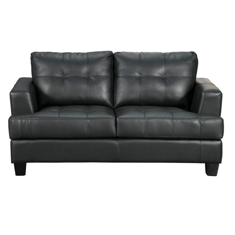 Bowery Hill Contemporary Tufted Leather Loveseat in Black