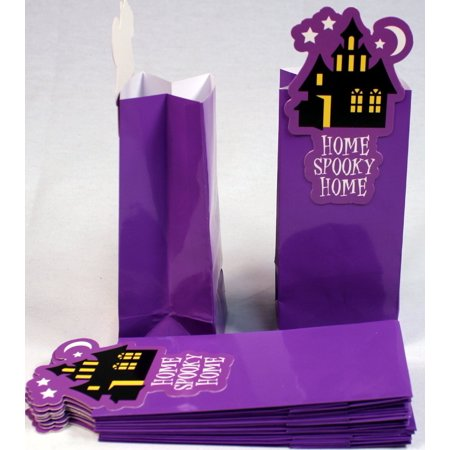 Glossy Coated Paper Treat Goody Bags, 6.5 x 3 Inch, Halloween Purple with Haunted House, Pack of 12 Bags, Creative Hobbies® Pack of 12 , Glossy Coated Paper.., By Creative Hobbies Ship from US](Halloween Goodies To Ship)