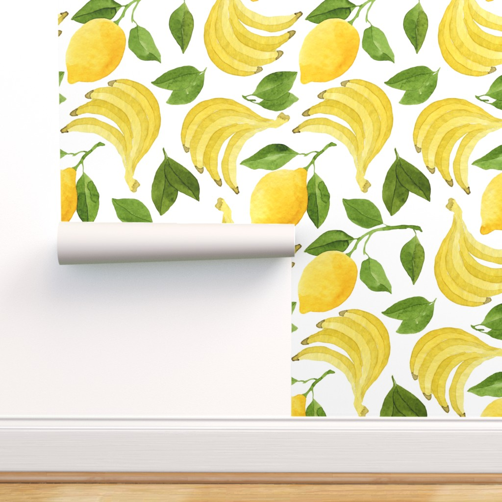 Peel And Stick Removable Wallpaper Yellow Fruit Vintage Kitchen