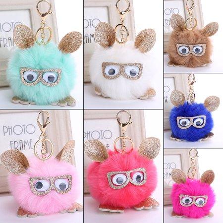 Women Lovely Cartoon Owl Wearing Glasses Faux Fur Bag Pendant Key Chain  Keyring - Walmart.com 5e4afa6643a54