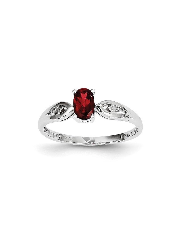14k White Gold Garnet Diamond Ring Size 7 by Diamond2Deal