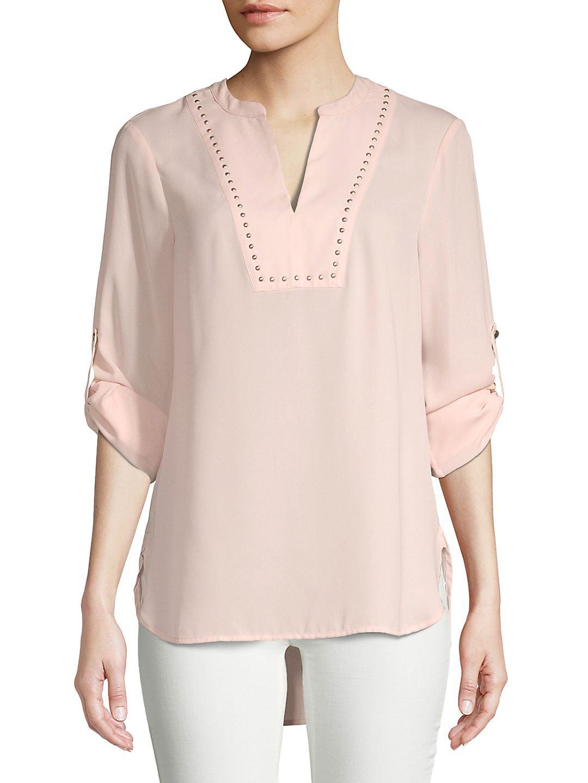 Embellished Split Neck Tunic