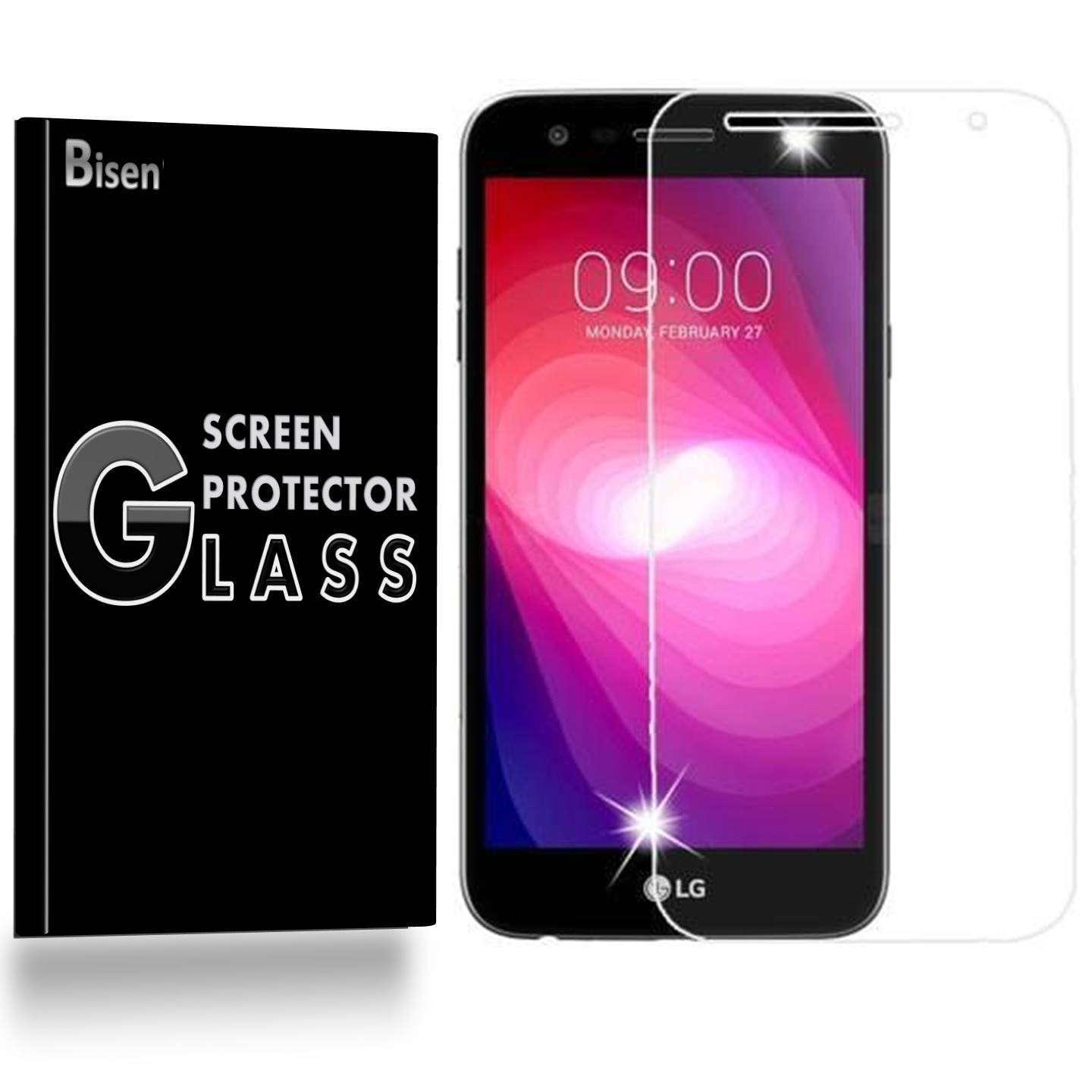 LG X Power2 / LG Fiesta LTE / LG X Charge / LG K10 Power [BISEN] 9H Tempered Glass Screen Protector, Anti-Scratch, Anti-Shock, Shatterproof, Bubble Free