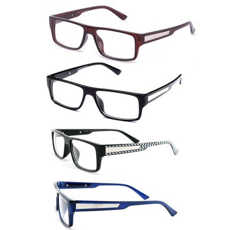 Newbee Fashion - Casual Simple Squared Durable Frames Temple Design Clear Eye Glasses Geek Nerd (Blue Womens Glasses Frames)