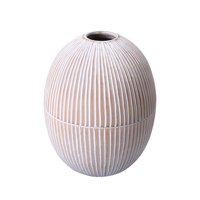 "Villacera Handmade 10"" Tall Oval White Mango Wood Vase 